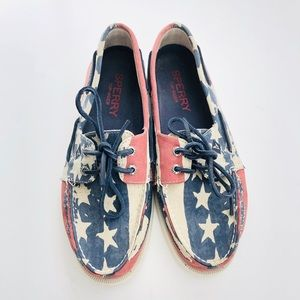 Sperry Top Siders American Flag Slip On Shoes | 9M